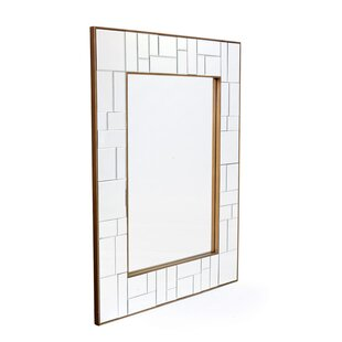 Rectangle Antiqued Gold Trim Wall Mirror