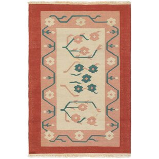 Whitted Tribal Gabbeh Handwoven Flatweave Wool Red/Brown Area Rug by Bungalow Rose