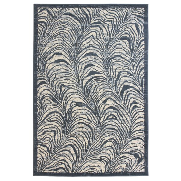 Wiley Cream/Blue Area Rug by Highland Dunes