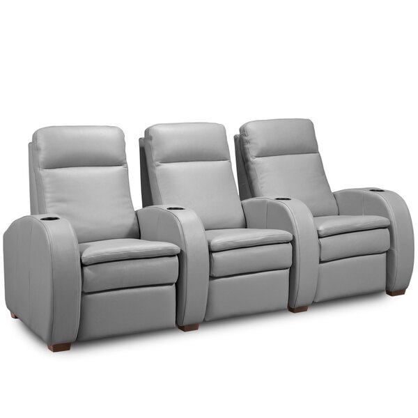 Review Leather Home Theater Sofa (Row Of 3)