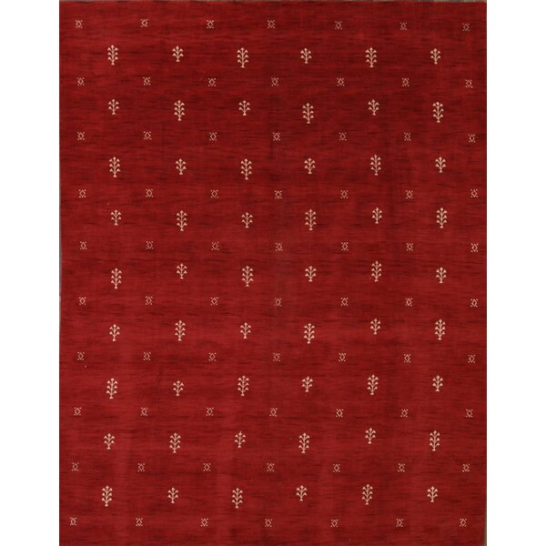 Arterberry Gabbeh Oriental Hand-Knotted Wool Red/Burgundy Area Rug by Bloomsbury Market