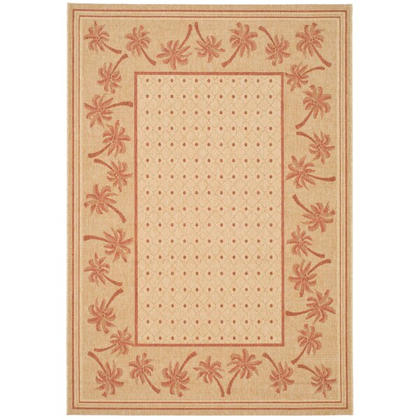 Amaryllis Ivory/Rust Outdoor Rug by Bay Isle Home