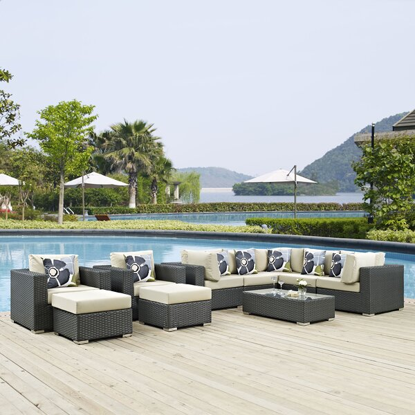 Tripp 10 Piece Rattan Sunbrella Sectional Seating Group with Cushions by Brayden Studio