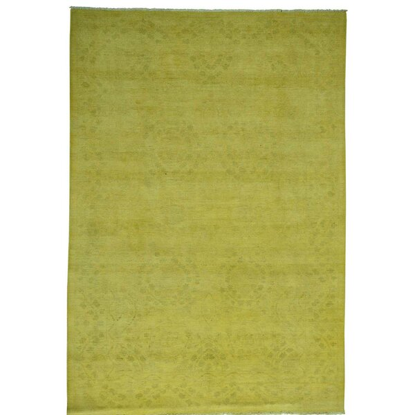 One-of-a-Kind Melodi Overdyed Hand-Knotted Yellow Area Rug by Bungalow Rose