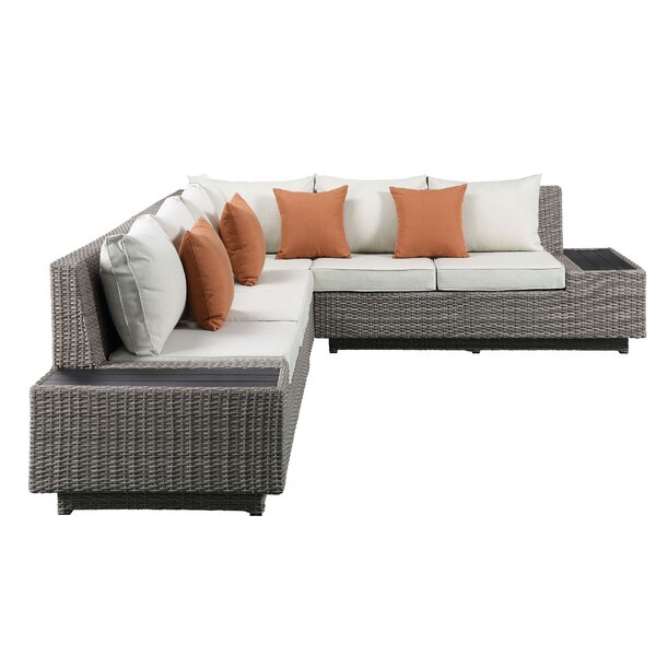 Smyrna Patio 4 Piece Rattan Sectional Seating Group with Cushions by Rosecliff Heights