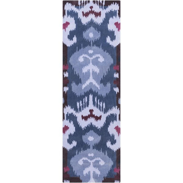 Maura Lavender/Navy Ikat and Suzani Area Rug by Bloomsbury Market
