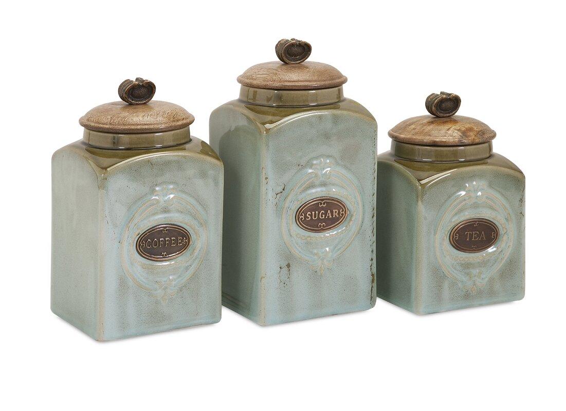 one allium way izetta 3 piece canister set reviews wayfair ceramic kitchen canisters jars sku oawy1966 default name