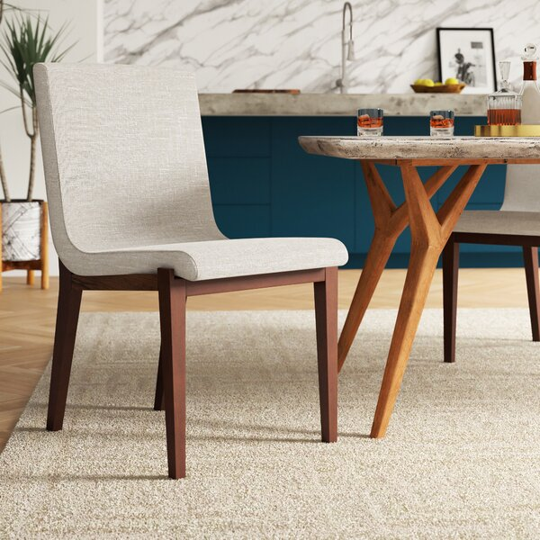 Morganti Beige Upholstered Dining Chair by Mercury Row