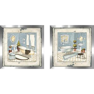 Blue Bath' 2 Piece Framed Acrylic Painting Print Set Under Glass by Ophelia & Co.