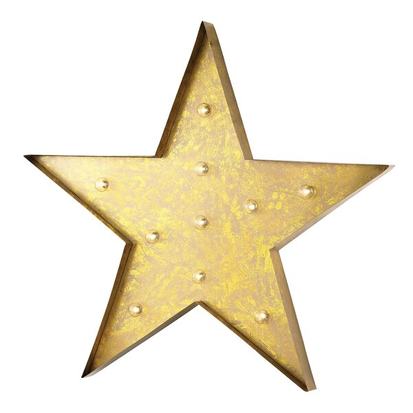 Yellow Star Marquee Sign Wall Décor by Brayden Studio
