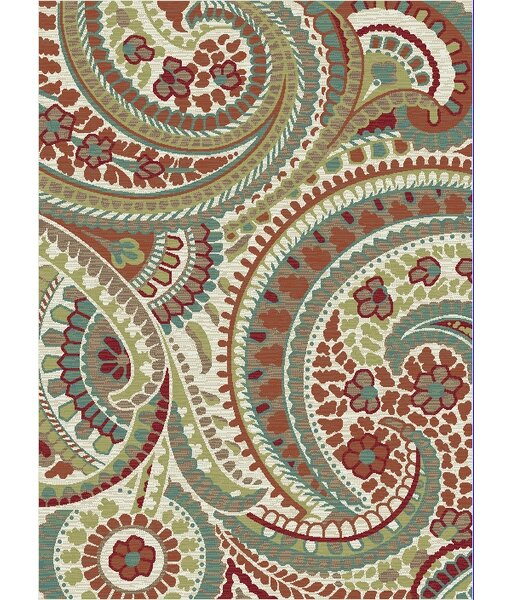 Heimbach Paisley Brown/Green Area Rug by Red Barrel Studio