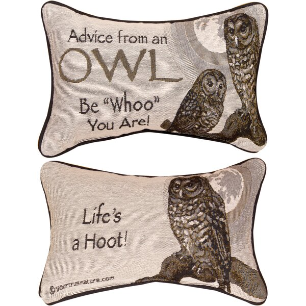 Advice from a Owl Word Lumbar Pillow by Manual Woodworkers & Weavers