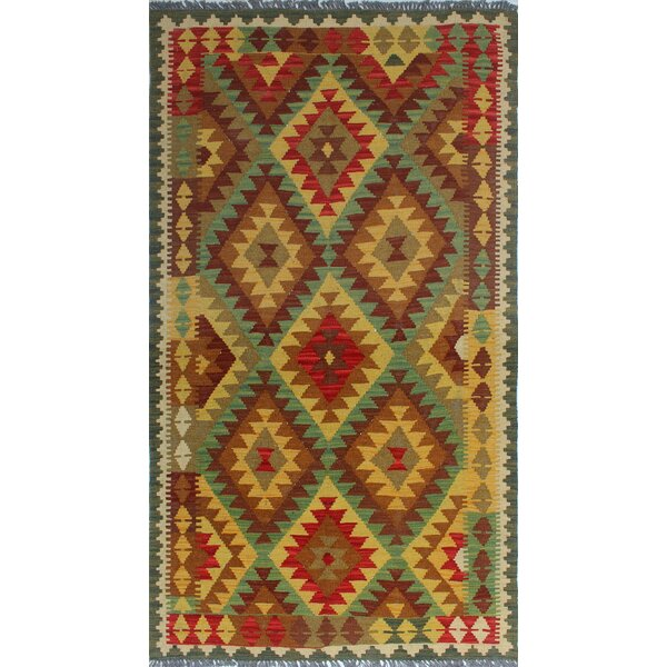 One-of-a-Kind Rucker Kilim Yaprak Hand-Woven Wool Gold Area Rug by Bungalow Rose
