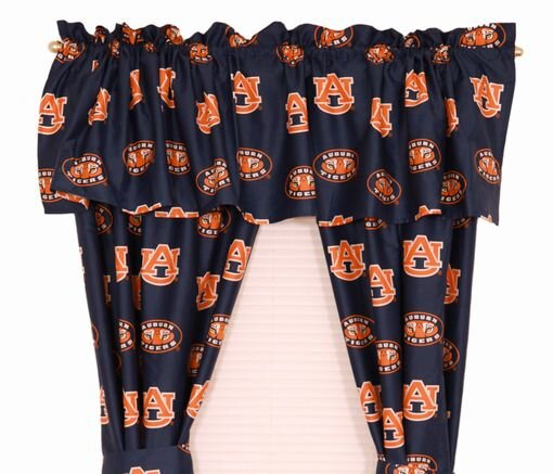 NCAA Auburn Printed Sports Rod Pocket Curtain Panels (Set of 2) by College Covers