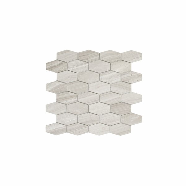 Cooper 1.8 x 3 Marble Mosaic Tile in Wooden White by Maykke