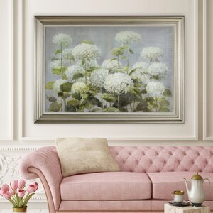 'Hydrangea Garden' Framed Painting Print on Wrapped Canvas by Alcott Hill