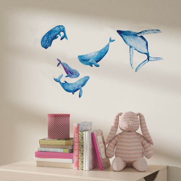 Lysander Watercolor Whale Wall Decal Set by Harriet Bee
