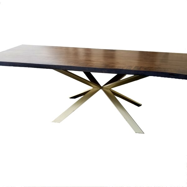 Kronos Solid Wood Live Edge Dining Table by Everly Quinn Everly Quinn