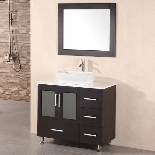 Pratt 36 Single Modern Bathroom Vanity Set with Mirror by dCOR design