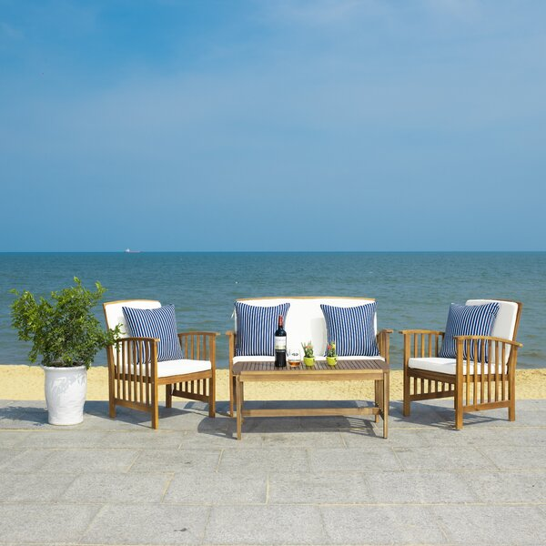 Kuhn 4 Piece in set Sofa Seating Group with Cushions by Longshore Tides