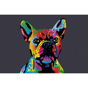 Rainbow French Bulldog on Grey Graphic Art on Wrapped Canvas by East Urban Home