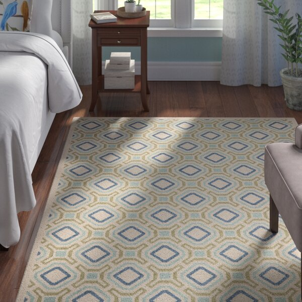 Tierney Cream & Green Inddor/Outdoor Area Rug by Andover Mills