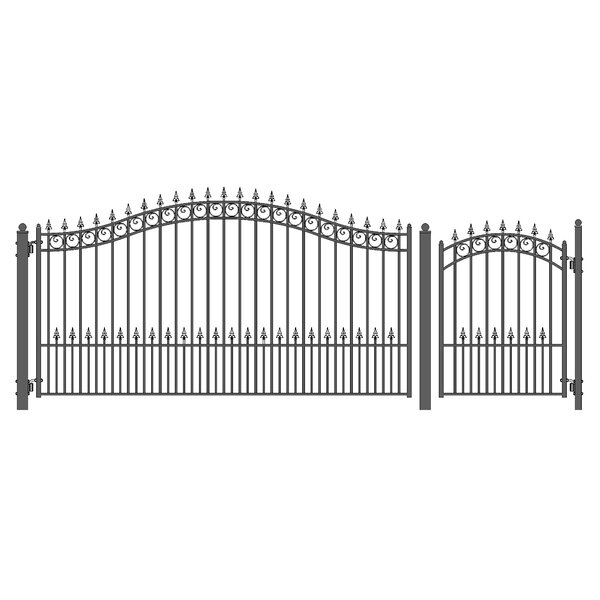 Prague Steel Single Swing Driveway Gate with Pedestrian Gate by ALEKO