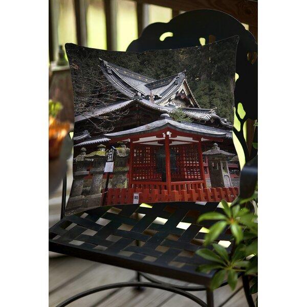 Nikko Monastery Building Indoor/Outdoor Throw Pillow by Manual Woodworkers & Weavers