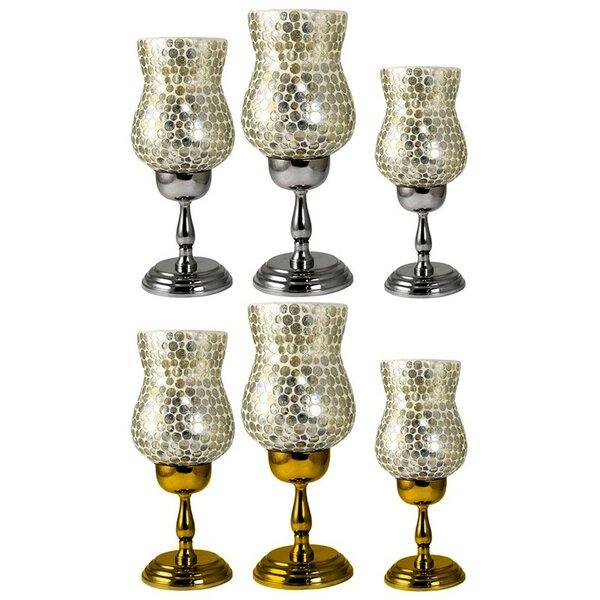 Modern 6 Piece Polka Dots Glass Hurricane Set by Bloomsbury Market