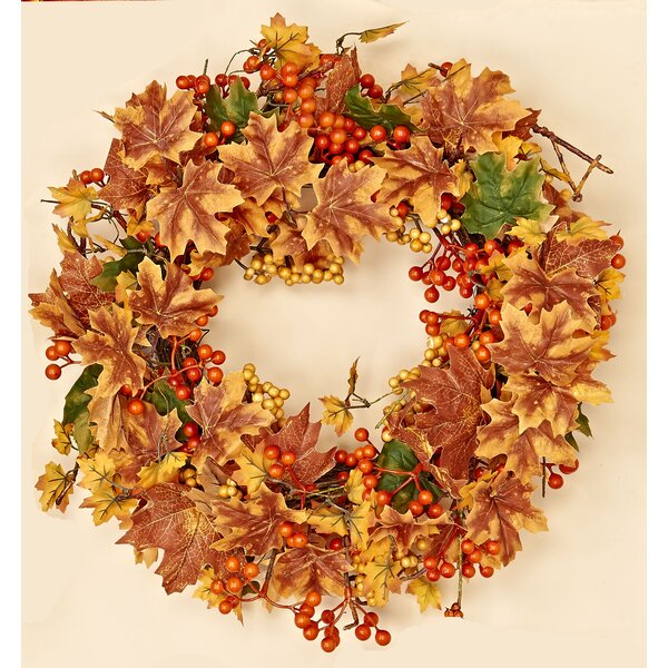 20 Maple Leaf/Mixed Berry Fall Wreath by August Grove