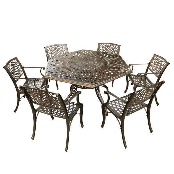 Rossman Mesh Lattice 7 Piece Dining Set by Fleur De Lis Living