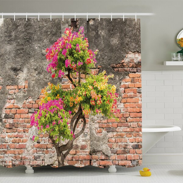 Rustic Home Fresh Little Tree with Flowers in front of Cracked Wall Hope Shower Curtain Set by Ambesonne