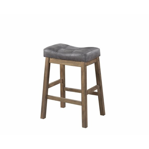 Weisinger Wooden Rustic Backless 25  Bar Stool (Set of 2) by Millwood Pines