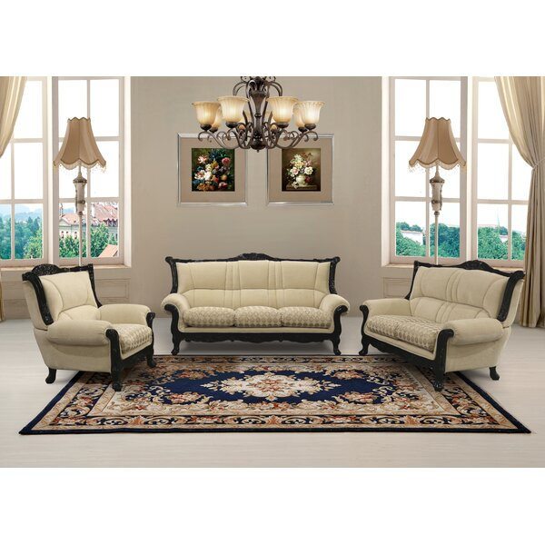 Vidette 3 Piece Beige And Gold Embossed Fabric Standard Living Room Set by Astoria Grand
