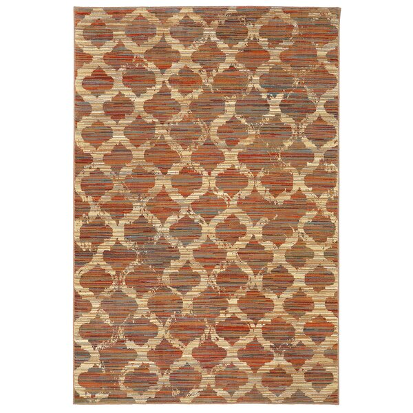 Shimizu Red/Beige Area Rug by Bungalow Rose