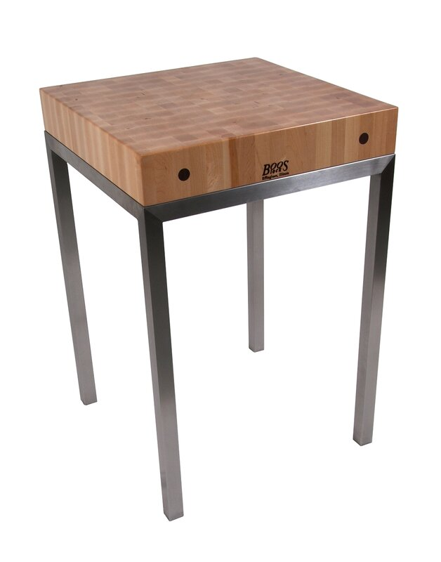 Exceptional Metropolitan Designer Prep Table With Butcher Block Top