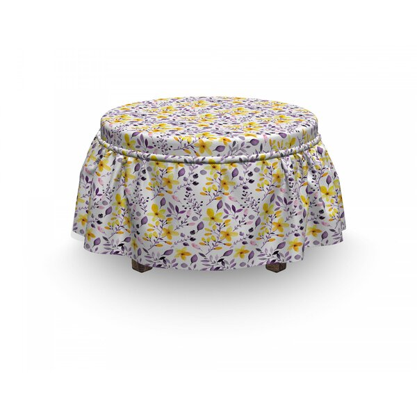 Wildflowers 2 Piece Box Cushion Ottoman Slipcover Set By East Urban Home