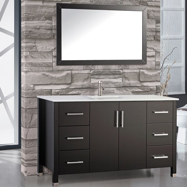Prahl Modern 60 Single Sink Bathroom Vanity Set with Mirror by Orren Ellis