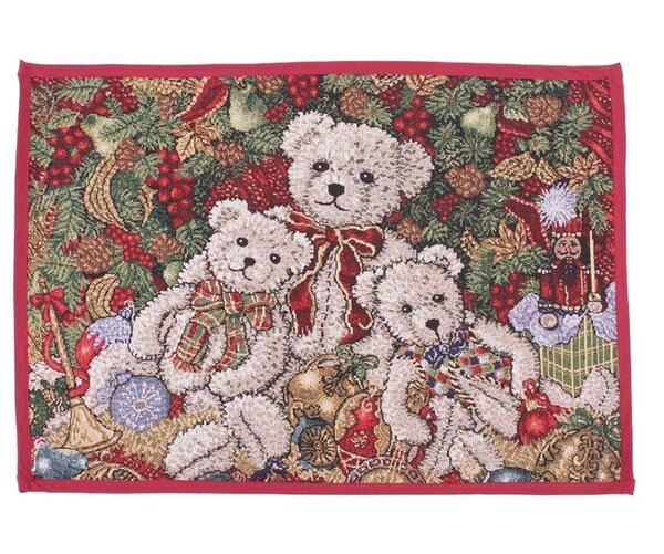 Decorative Christmas Teddy Bears Tapestry Placemat (Set of 4) by Violet Linen