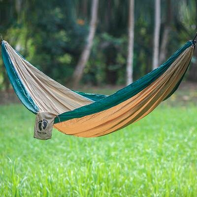 Single Parachute Nylon Camping Hammock by Novica
