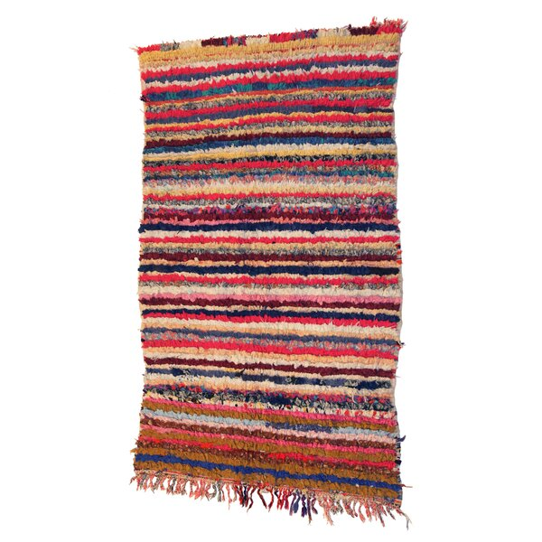 Boucherouite Azilal Hand-Woven Red/Orange Area Rug by Casablanca Market