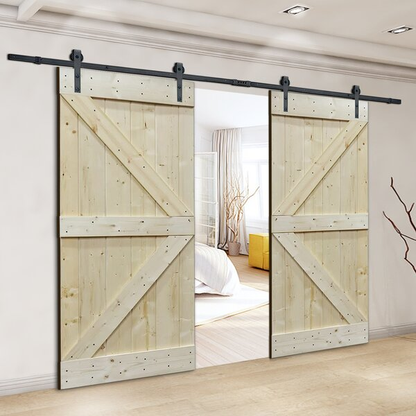 Natural Core Knotty Pine Solid Wood Panelled Slab Interior Barn Door by Calhome