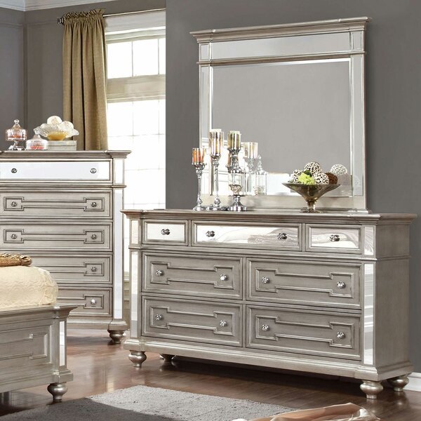 Amberly 7 Drawer Double Dresser with Mirror by House of Hampton