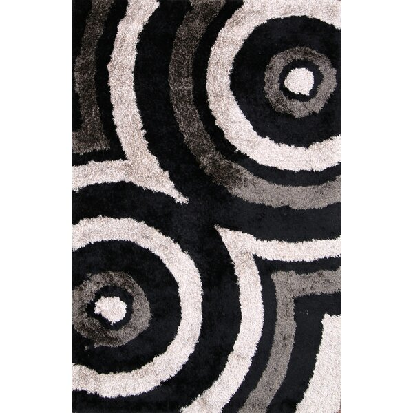Anthea Modern Shaggy Oriental Hand-Tufted Black/White/Brown Area Rug by Ebern Designs