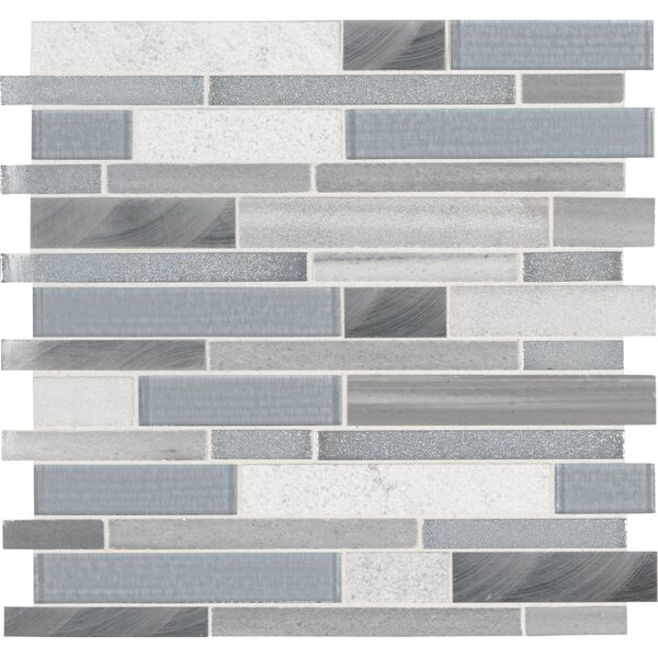 Harlow Random Sized Glass Mosaic Tile in Gray by MSI