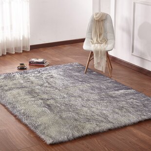 Curtis Faux Fur White Gray Area Rug