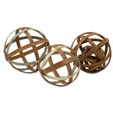 Wood and Metal Spheres 3 Piece Sculpture Set