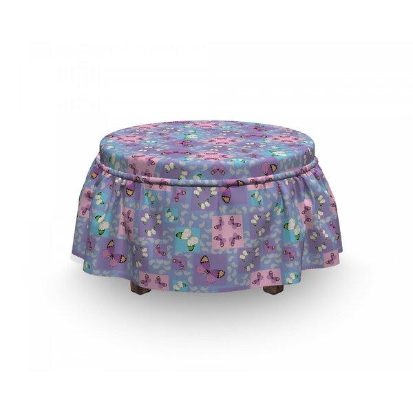 Butterfly Springtime Geometric 2 Piece Box Cushion Ottoman Slipcover Set By East Urban Home