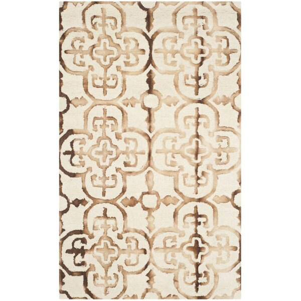 Naples Park Hand-Tufted/Handwoven Wool Ivory & Camel Area Rug by Bungalow Rose