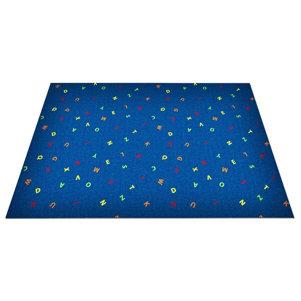 Blue Scattered Letters Area Rug by Kid Carpet